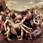 Raphael Sanzio (Italian: Raffaello) (1483 - 1520)  The Entombment (The Deposition)  Oil on wood, 1507  184 cm &#215; 176 cm (72 in &#215; 69 in)  Galleria Borghese, Rome, Italy